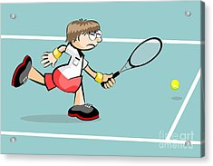 Tennis Player Runs Effort To Reach The Ball Before He Leaves The Court Acrylic Print