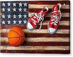 Tennis Shoes And Basketball On Flag Acrylic Print by Garry Gay