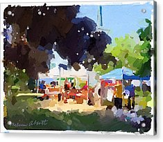 Tents And Church Steeple At Rockport Farmers Market Acrylic Print
