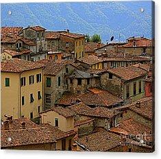 Acrylic Print featuring the photograph Terra-cotta Roofs Barga Vecchia Italy by Nicola Fiscarelli