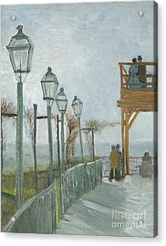 Terrace And Observation Deck At The Moulin De Blute Fin Acrylic Print by Vincent Van Gogh