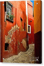 Terracotta Alley Acrylic Print by Mexicolors Art Photography