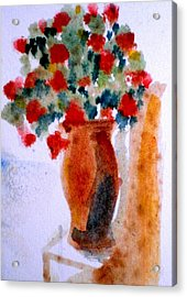 Terracotta Vase And Flowers Acrylic Print by Maria Rosaria DAlessio