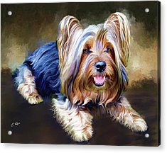 Terrier Acrylic Print by Ellens Art