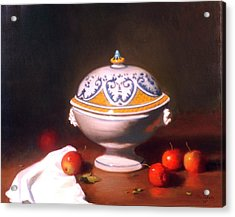 Terrine With Apples Acrylic Print by David Olander