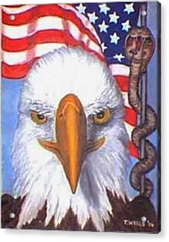 Terrorists Are Slithering In On The Backside Of Our Freedom Acrylic Print by Tanna Lee M Wells