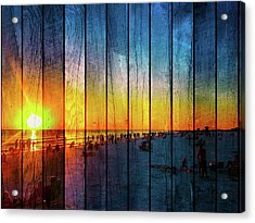 Siesta Key Drum Circle Sunset - Wood Plank Look Acrylic Print