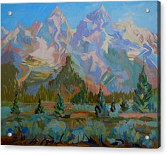 Acrylic Print featuring the painting Teton Heaven by Francine Frank