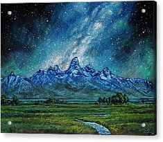 Acrylic Print featuring the painting Teton Milky Way by Aaron Spong