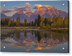 Teton Morning Mirror Acrylic Print by Joseph Rossbach