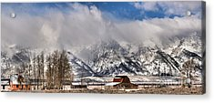 Acrylic Print featuring the photograph Teton Mountains Over Mormon Row by Adam Jewell