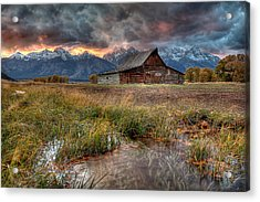 Teton Nightfire At The Ta Moulton Barn Acrylic Print