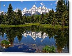 Teton Reflection Acrylic Print by Alan Lenk