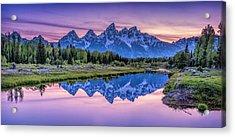 Sunset Teton Reflection Acrylic Print
