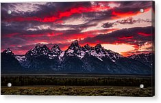Teton Sunset Acrylic Print by Darren White