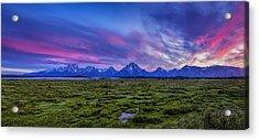 Teton Sunset Panorama Acrylic Print by Andrew Soundarajan