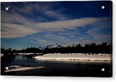 Tetons At Moonlight Acrylic Print