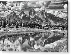 Tetons In Black And White Acrylic Print by Mary Hone