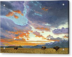 Tetons-looking South At Sunset Acrylic Print