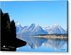 Tetons Reflection Acrylic Print by Carrie Putz