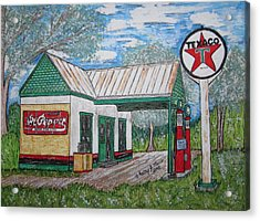 Acrylic Print featuring the painting Texaco Gas Station by Kathy Marrs Chandler