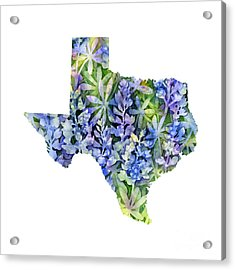 Texas Blue Texas Map On White Acrylic Print