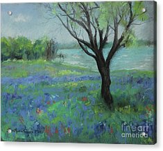 Acrylic Print featuring the painting Texas Bluebonnet Trail by Robin Maria Pedrero