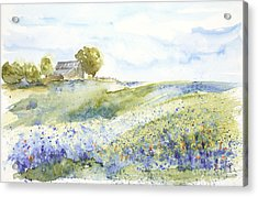 Acrylic Print featuring the painting Texas Bluebonnets by Sandra Strohschein