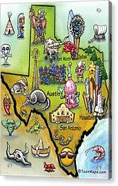 Texas Cartoon Map Acrylic Print
