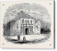 Texas  Church Of Alamo, San Antonio De Bexar Acrylic Print by American School