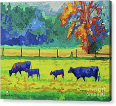 Texas Cows And Calves At Sunset Painting T Bertram Poole Acrylic Print by Thomas Bertram POOLE
