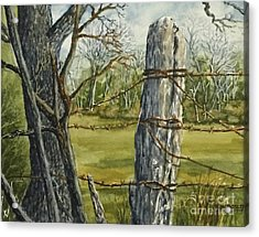 Texas Fence Post Acrylic Print by Don Bosley