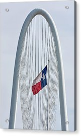 Texas Flag At Margaret Hunt Hill Bridge Acrylic Print by Tod and Cynthia Grubbs