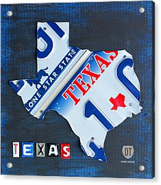 Texas License Plate Map Acrylic Print by Design Turnpike