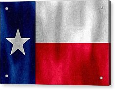 Texas Lonestar Flag In Digital Oil Acrylic Print