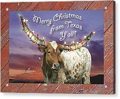 Texas Longhorn Christmas Card Acrylic Print