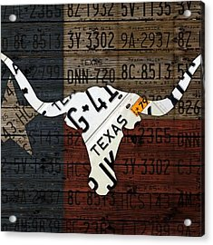#texas #longhorn #recycled #vintage Acrylic Print by Design Turnpike