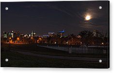 Acrylic Print featuring the photograph Texas Medical Center Moonset by Joshua House