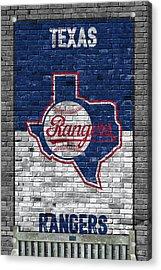 Texas Rangers Brick Wall Acrylic Print by Joe Hamilton