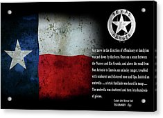 Texas Rangers Quote On Effeminacy And Dandyism  1890 Acrylic Print by Daniel Hagerman