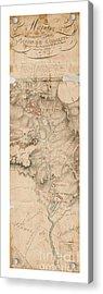 Texas Revolution Santa Anna 1835 Map For The Battle Of San Jacinto With Border Acrylic Print