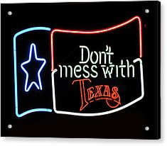 Acrylic Print featuring the photograph Texas Flag Saloon Neon by Daniel Hagerman