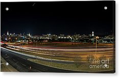 Texas University Tower And Downtown Austin Skyline From Ih35 Acrylic Print