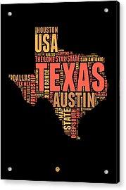 Texas Word Cloud 1 Acrylic Print by Naxart Studio