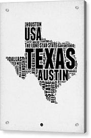 Texas Word Cloud 2 Acrylic Print by Naxart Studio