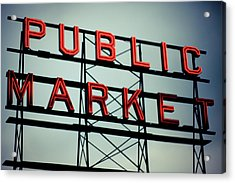 Text Public Market In Red Light Acrylic Print by © Reny Preussker