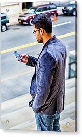 Man Texting Acrylic Print