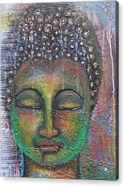 Textured Green Buddha Acrylic Print