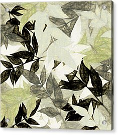 Acrylic Print featuring the digital art Textured Leaves Abstract By Kaye Menner by Kaye Menner