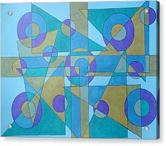 Acrylic Print featuring the drawing Textures In Blue  by Beth Akerman